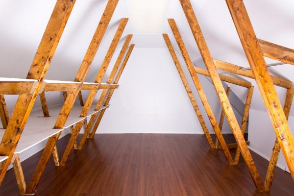A roof space shelves for storage